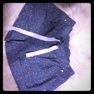 Lululemon activewear blue polka dot shorts